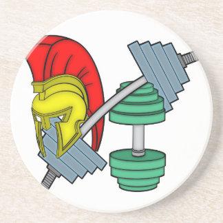Spartan's helmet on gym equipment coaster