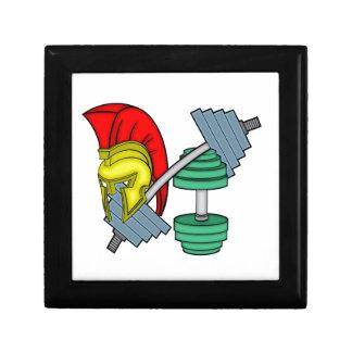Spartan's helmet on gym equipment gift box