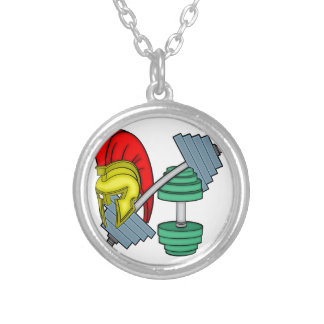 Spartan's helmet on gym equipment silver plated necklace