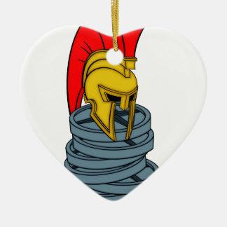spartan's helmet on weights ceramic heart decoration