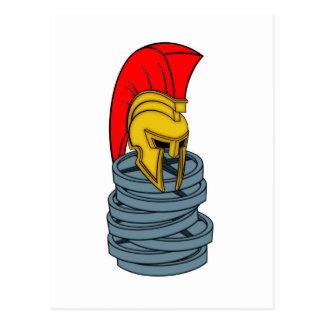 spartan's helmet on weights postcard