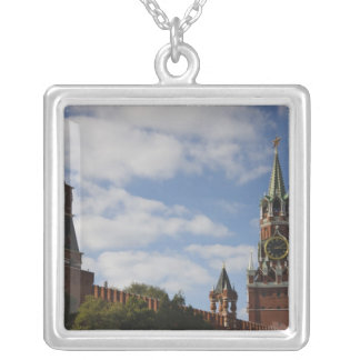 Spasskaya Tower in Red Square, Moscow, Russia Square Pendant Necklace