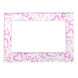 Spatter Hearts All Over Picture Frame Magnet