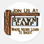 Spawn Camp Round Stickers
