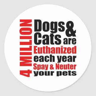 Spay and Neuter Your Pets Round Stickers