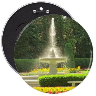 Spaying Fountain in the Flower Garden 6 Inch Round Button