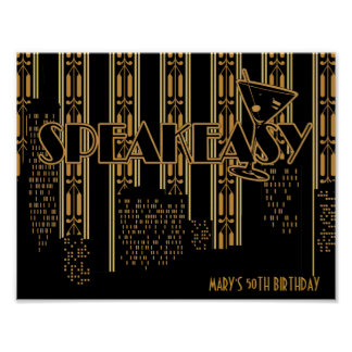 Speak Easy, 1920's Birthday Party Poster