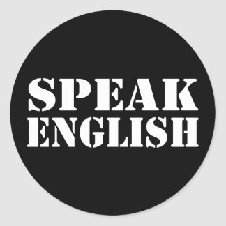 Speak English Round Stickers