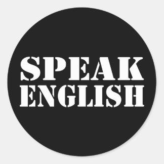 Speak English Round Stickers