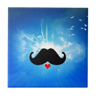 Speak LOVE out loud moustache Tile