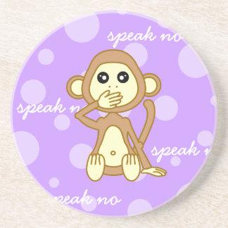 Speak No Evil - Cute Monkey Cartoon Coaster