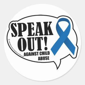 Speak Out Against Child Abuse Round Sticker