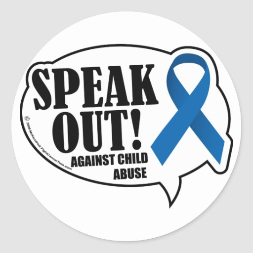 Speak Out Against Child Abuse Sticker