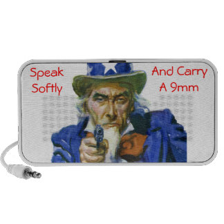 Speak Softly & Carry a 9mm Uncle Sam with Gun Mp3 Speakers