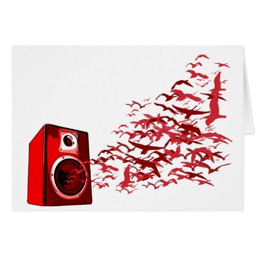 Speaker Birds - Music DJ Loud Disc Jockey Greeting Cards