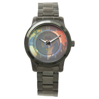 Custom world map wrist watches zazzle speaker on a world map background watch gumiabroncs Choice Image