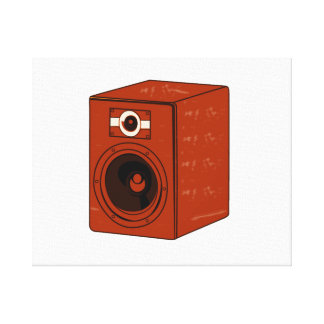 Speaker Single Grunged Graphic Red Brown Gallery Wrap Canvas