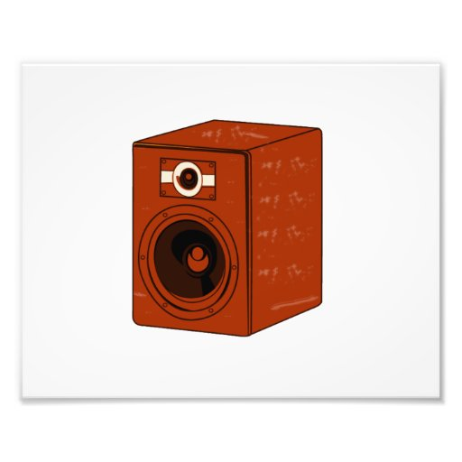 Speaker Single Grunged Graphic Red Brown Photograph