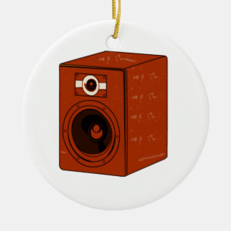 Speaker Single Grunged Graphic Red Brown Round Ceramic Decoration