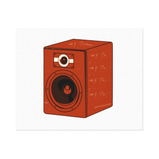 Speaker Single Grunged Graphic Red Brown Stretched Canvas Print