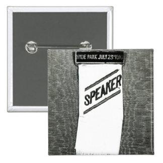 Speaker's badge for the Suffragette meeting