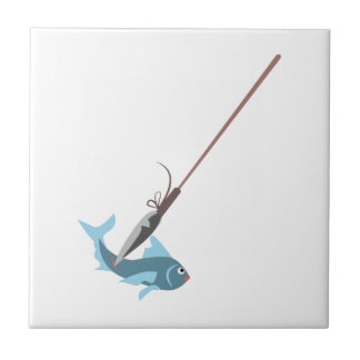Spear Fishing Small Square Tile