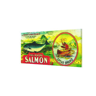 Spear Salmon Can LabelYes Bay, AK Gallery Wrapped Canvas