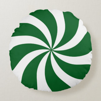 Spearmint Candy Swirl Green and White Round Cushion