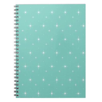 Spearmint, Mint Green And Bright Stars Pattern Note Books