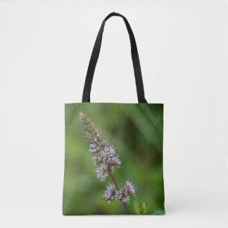 Spearmint Purple Wildflower Floral Tote Bag