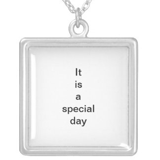 Special day. square pendant necklace