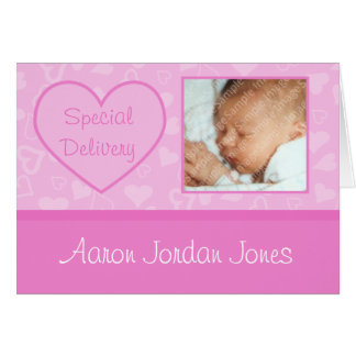 Special Delivery Baby Girl Birth Announcements Cards