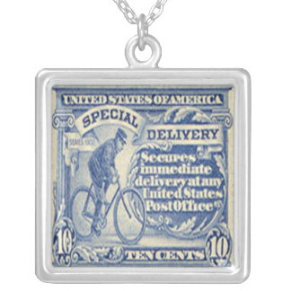 Special Delivery Bike Stamp Necklace