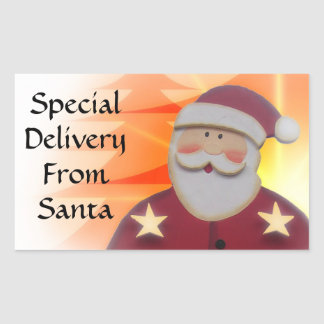 Special Delivery From SANTA Red Gold Trees V6C Rectangular Sticker