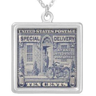 Special Delivery Motor Bike Postage Stamp Necklace