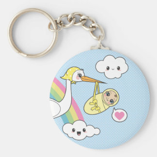 Special Delivery - Stork & Baby Basic Round Button Key Ring