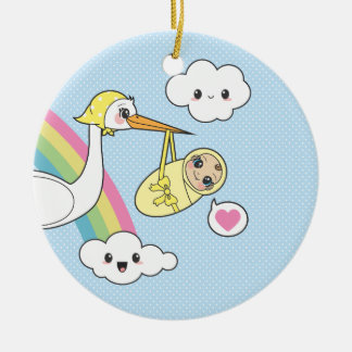 Special Delivery - Stork & Baby Double-Sided Ceramic Round Christmas Ornament