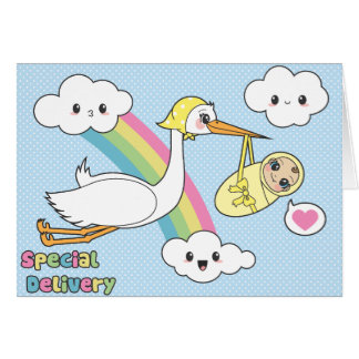 Special Delivery - Stork & Baby Greeting Card