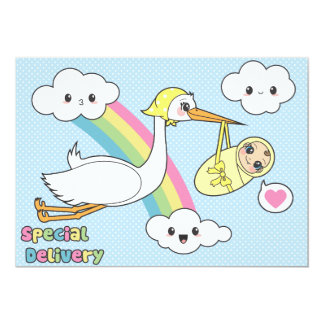 "Special Delivery - Stork & Baby 5"" X 7"" Invitation Card"