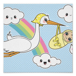 Special Delivery - Stork & Baby Posters