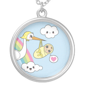 Special Delivery - Stork & Baby Round Pendant Necklace