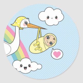 Special Delivery - Stork & Baby Classic Round Sticker