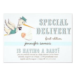 Special Delivery - Vintage Stork 13 Cm X 18 Cm Invitation Card