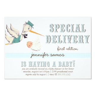 "Special Delivery - Vintage Stork 5"" X 7"" Invitation Card"
