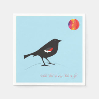 Special edition Tricolored black bird Disposable Napkins