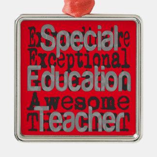 Special Education Teacher Extraordinaire Silver-Colored Square Decoration