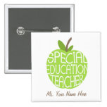 Special Education Teacher Green Apple Button