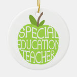 Special Education Teacher Green Apple Ornament