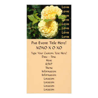Special Event Invitations Yellow Rose Flowers Customized Photo Card