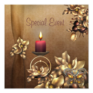 Special Event Invite Golden Glow Candle floral